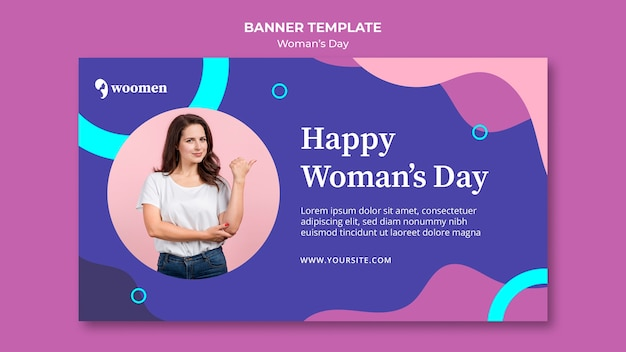 Modello di banner colorato giorno delle donne