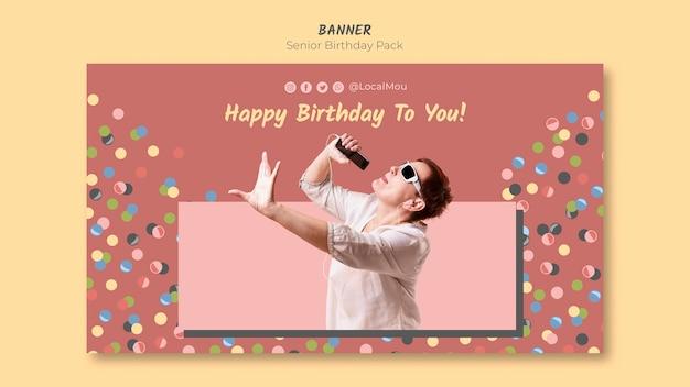 Modello di banner compleanno senior