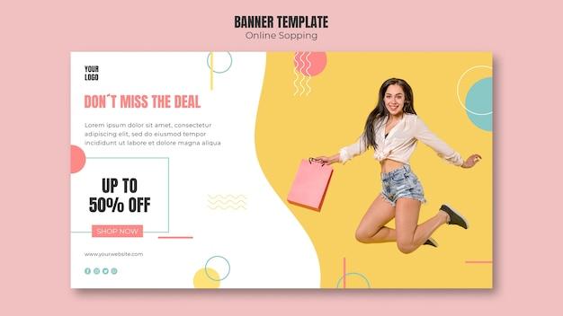 Modello di banner con design dello shopping online