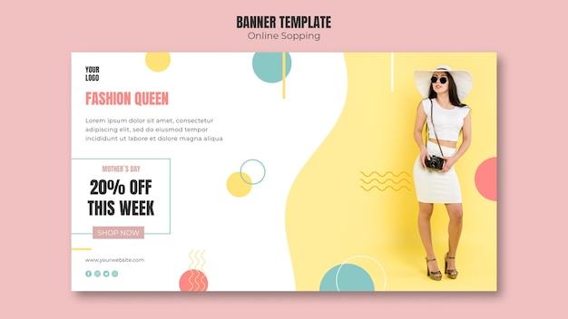 Modello di banner con lo shopping online