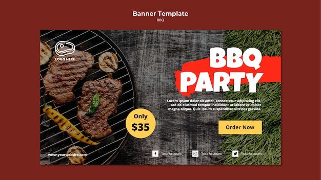 Modello di banner con modello di barbecue