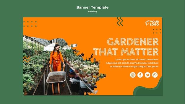 Modello di banner concetto di giardinaggio