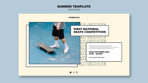Modello di banner concetto di skate urbano