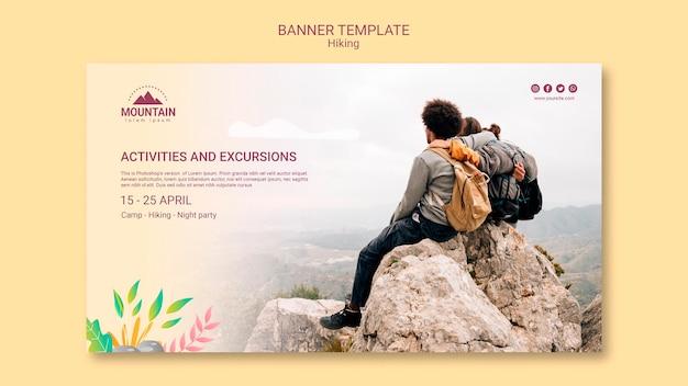 Modello di banner concetto escursionismo