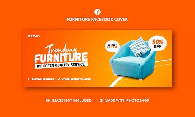 Modello di banner copertina facebook di vendita di mobili
