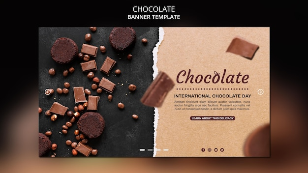 Modello di banner del negozio di cioccolato