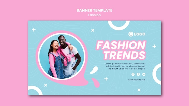 Modello di banner del negozio di moda con foto