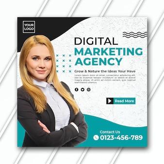 Modello di banner dell'agenzia di marketing quadrato