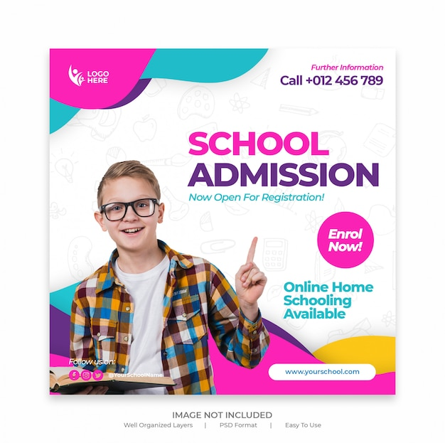 Modello di banner di ammissione scolastica o volantino quadrato