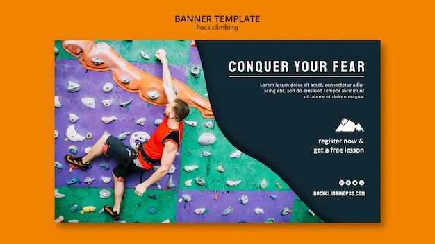Modello di banner di arrampicata su roccia