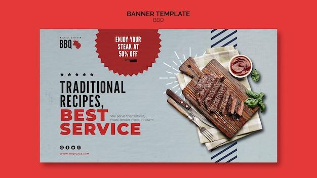 Modello di banner di bbq ricette tradizionali