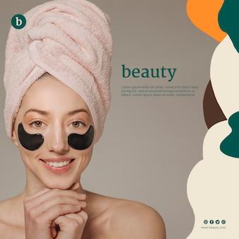 Modello di banner di bellezza con una donna
