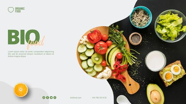 Modello di banner di cibo bio con foto