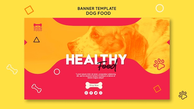 Modello di banner di cibo per cani sano