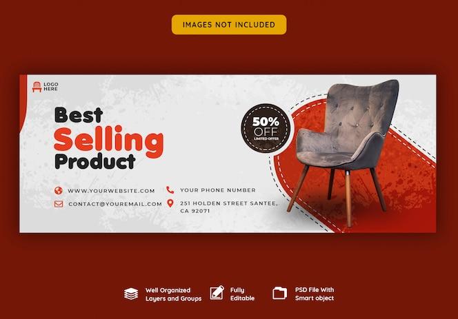 Modello di banner di copertina di Facebook per la vendita di mobili