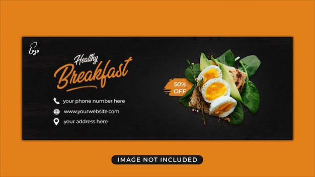 Modello di banner di copertina di facebook promozione cibo menu