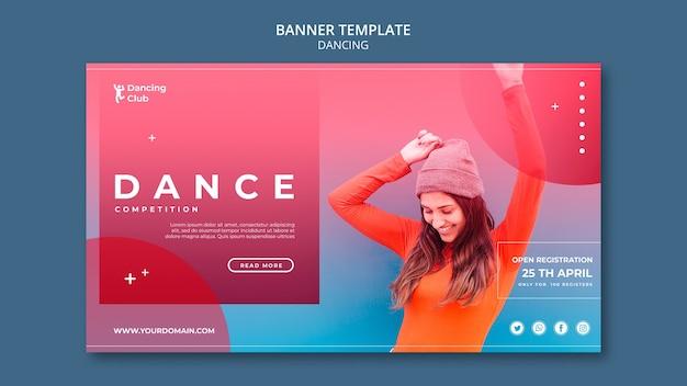 Modello di banner di danza colorata