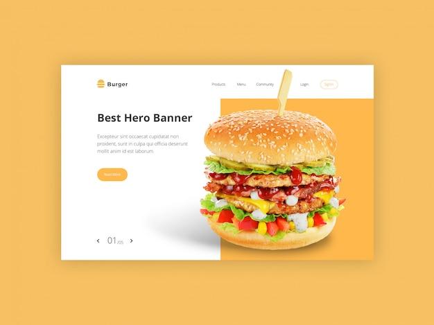 Modello di banner di eroe di hamburger