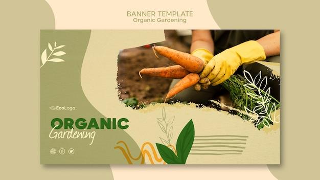 Modello di banner di giardinaggio organico con foto