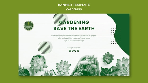 Modello di banner di giardinaggio