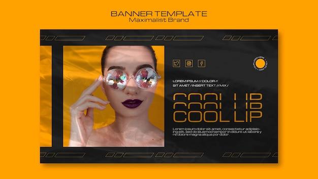 Modello di banner di marca maximalist cool up