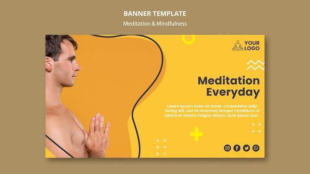 Modello di banner di meditazione e consapevolezza