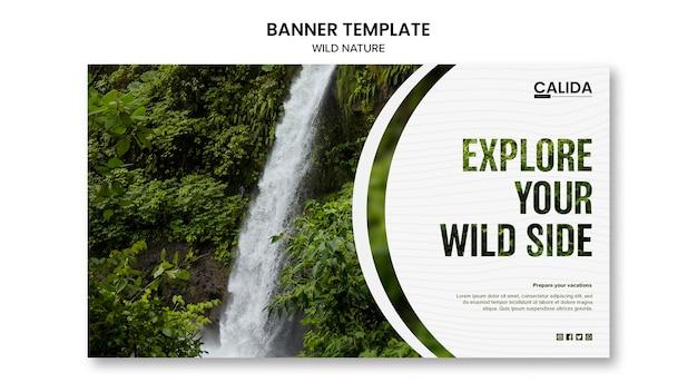 Modello di banner di natura selvaggia con foto