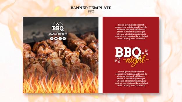 Modello di banner di notte e griglia barbecue