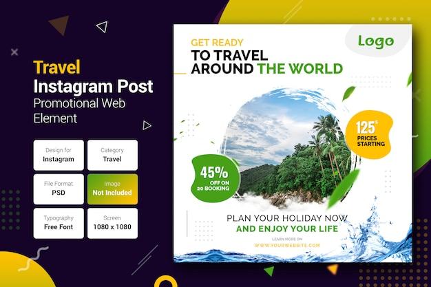 Modello di banner di post di instagram di viaggio