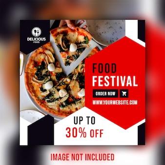 Modello di banner di ristorante cibo social media post