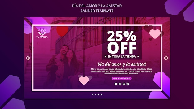 Modello di banner di san valentino coppia felice