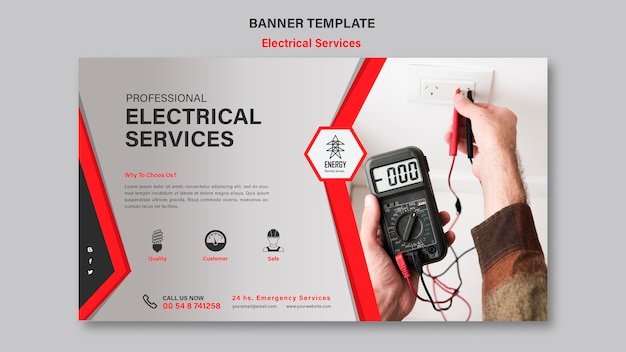 Modello di banner di servizi elettrici