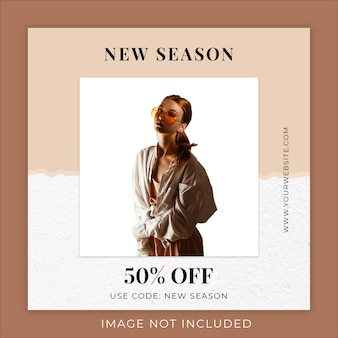 Modello di banner di social media di carta strappata di new season fashion collection