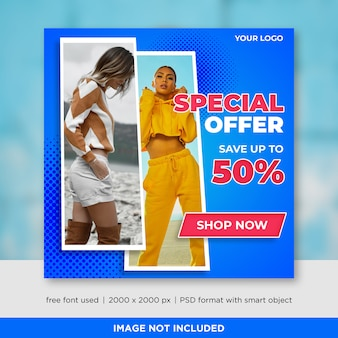 Modello di banner di social media di vendita di moda per annunci