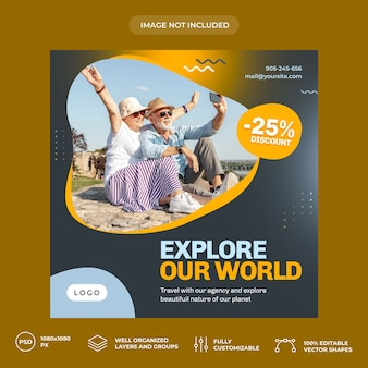 Modello di banner di social media di viaggio