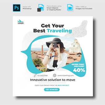 Modello di banner di social media in viaggio