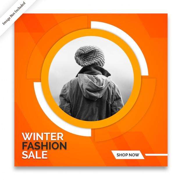 Modello di banner di social media invernale