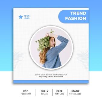 Modello di banner di social media, moda ragazza blu