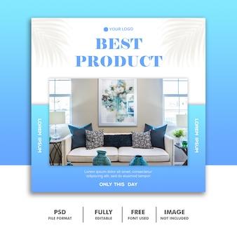 Modello di banner di social media, prodotto di arredamento blu