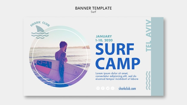 Modello di banner di surf