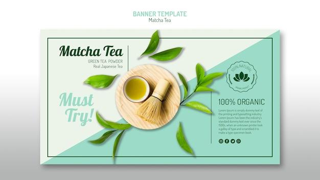 Modello di banner di tè biologico matcha