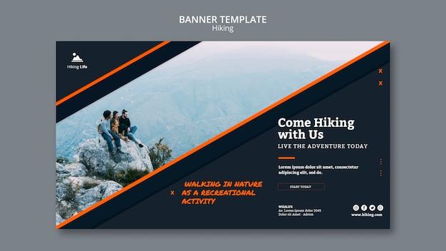 Modello di banner di tema escursionistico