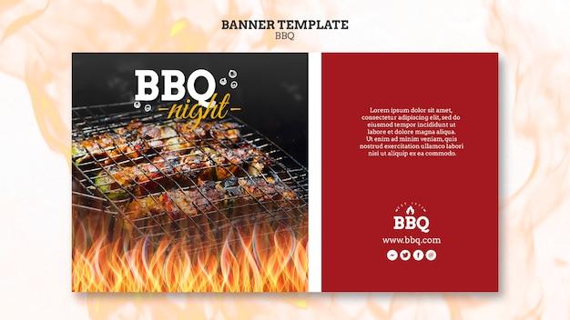 Modello di banner di tempo e griglia barbecue
