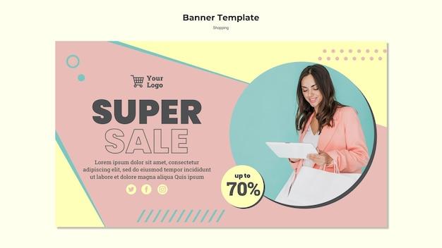 Modello di banner di vendita cena dello shopping