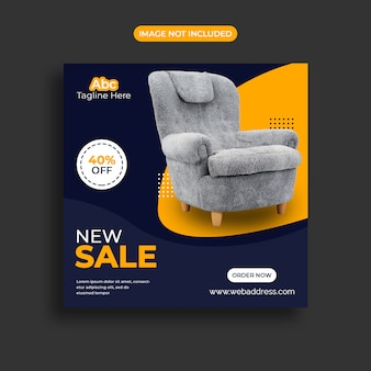 Modello di banner di vendita limitata di mobili in offerta