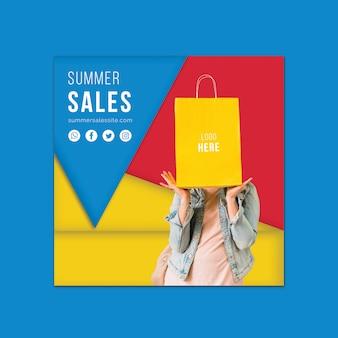 Modello di banner di vendite estive con forme triangolari colorate