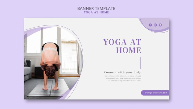 Modello di banner di yoga a casa