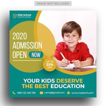 Modello di banner e flyer di social media ammissione all'istruzione scolastica per bambini