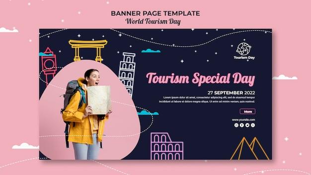 Modello di banner giornata mondiale del turismo