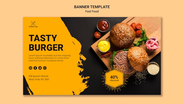 Modello di banner gustoso hamburger